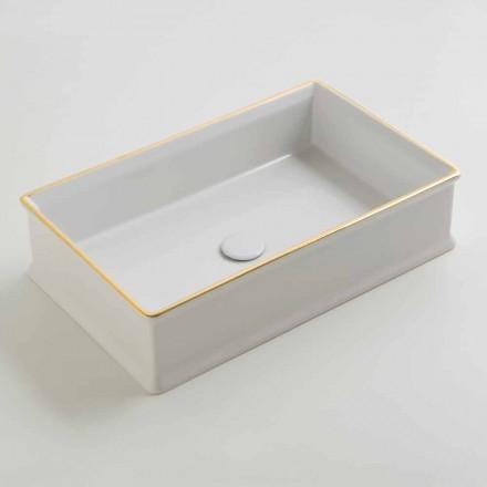 Design keramisk tvättställ med guldgräns gjord i Italien Debora