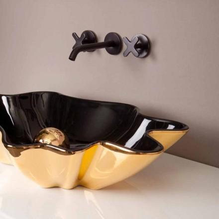 Designer tvättställ keramiskt svart och guld tillverkat i Italien Rayan