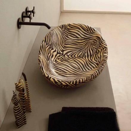 Design keramisk diskbänk tvättställ med orange sebra gjord i Italien Glänsande