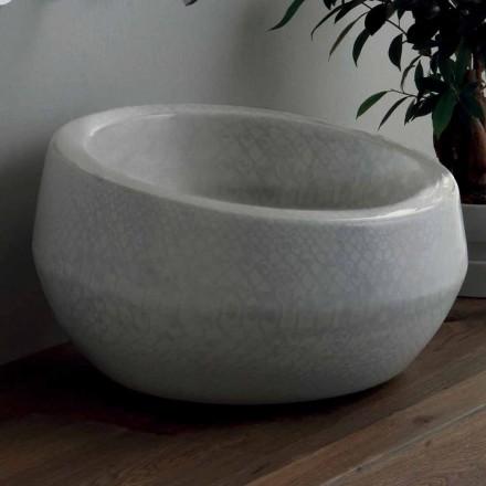 Handfat i bänkskivan i python keramik gjord i Italien Elisa