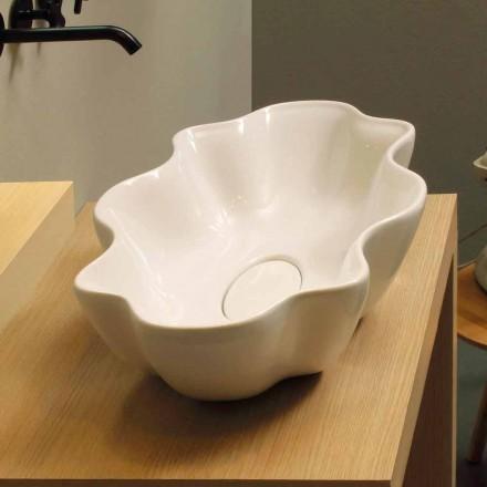Modernt design diskbänk tvättställ i vit keramik gjord i Italien Cubo