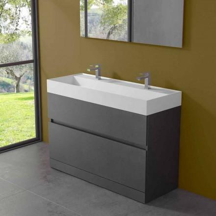Dubbel tvättställ med golvskåp Modern design i laminat - Pompei