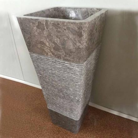 Pedestal grått handfat i Taffy sten, unikt stycke