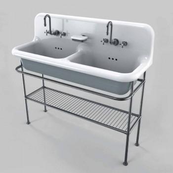 keramiska tvättställ med två skålar på stödstrukturen Calvin