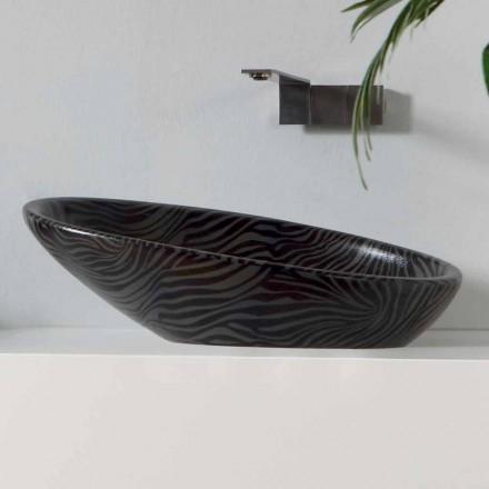 Modernt bordsskivor keramiskt handfat med silverfärgad keramik gjord i Italien Glansig