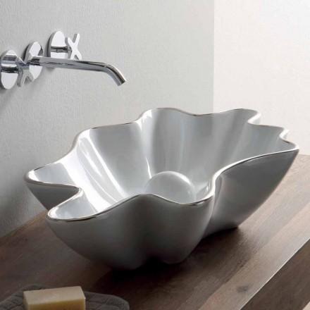Modernt bänkskål i vit keramik gjord i Italien Rayan