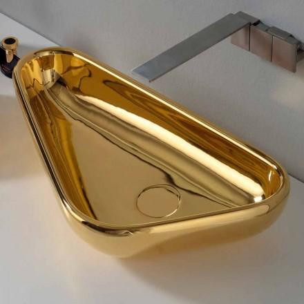 Modernt bänkskål i guld keramik gjord i Italien Sofia