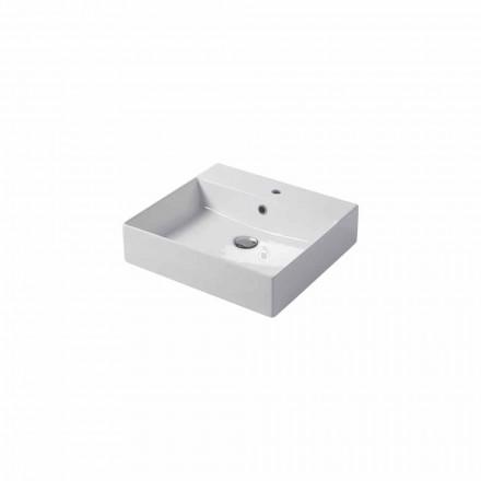 Enkelhåls bänkskiva eller väggmonterad diskbänk i färgad keramisk Leivi