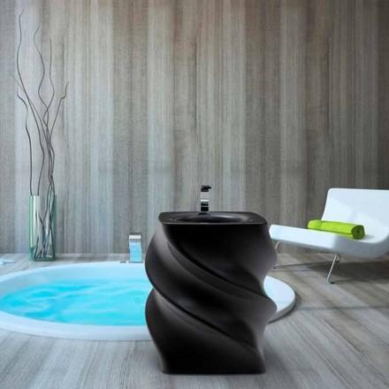 Modernt design frittstående svart handfat Twist gjord i Italien