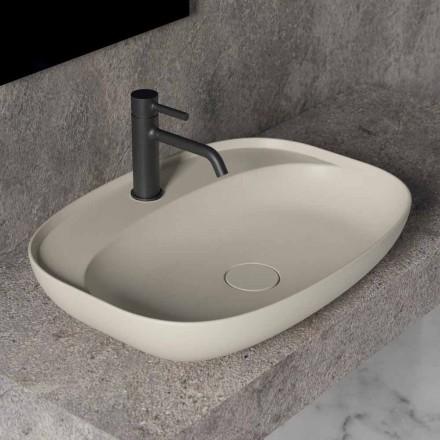 Oval tvättställ för bänkskivor för badrumsdesign i keramik Tillverkad i Italien - Omarance