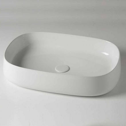 Oval bänkskål L 60 cm i modern keramik tillverkad i Italien - Cordino