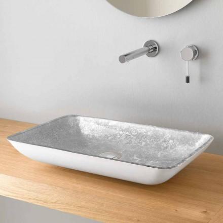 Rektangulär tvättställ för bänkskivor i högkvalitativt glas tillverkat i Italien - Wandor