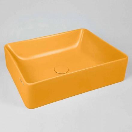 Rektangulär bänkskål Tvättställ L 60 cm i keramik Tillverkad i Italien - Rotolino