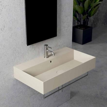 Rektangulär bänkskiva eller vägghängt keramiskt handfat, design 3 storlekar - Malvina