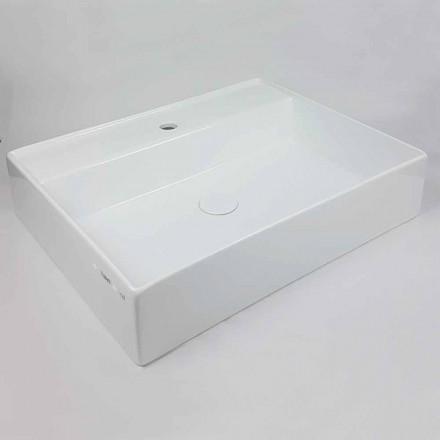 Rektangulär bänkskål Tvättställ L 60 cm i keramik Tillverkad i Italien - Piacione