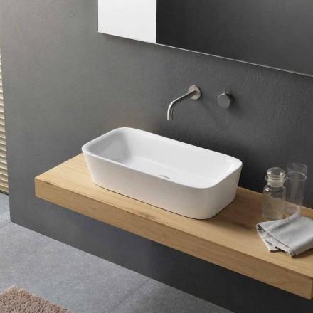 Modernt rektangulärt tvättställ i bänkskiva i keramisk design - Lipperialav1