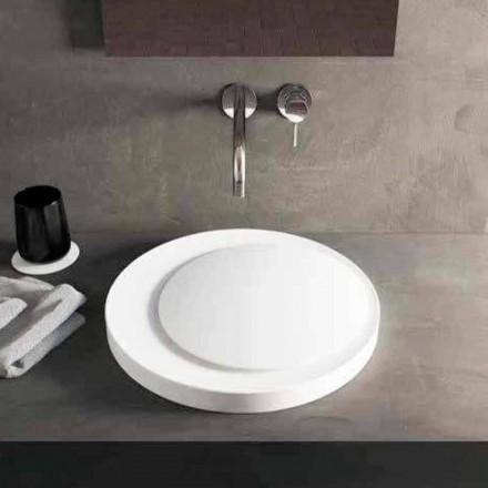 Design rund diskbänk i handfat i Luxolid Solid Surface Crema