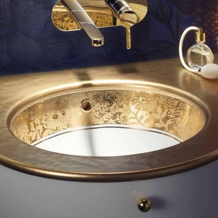 Underläggsvink i eldlera och 24 karat guld handgjorda i Italien, Egeo