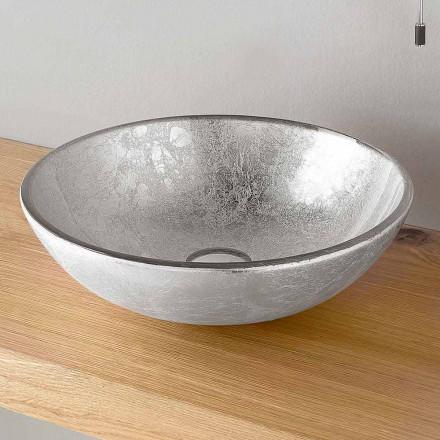 Runt tvättställ för bänkskiva, dekorerat i silver, koppar eller guldblad - Wandor