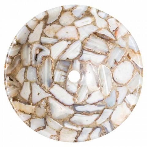 Bänkskiva rund sten stöd agat Mila, enda stycke