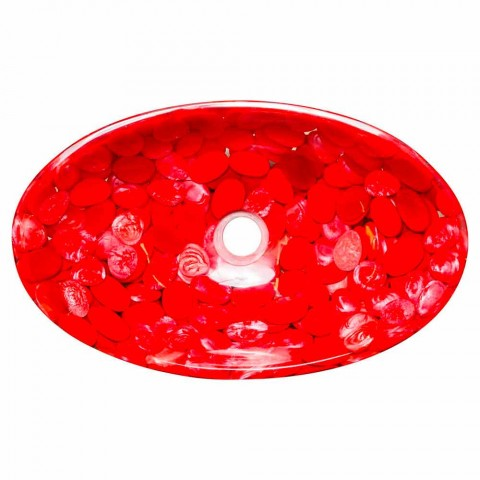 Modern handgjord diskbänk i rött harts, Buscate