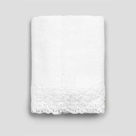 Vitt linne platt lakan med spets för dubbelsäng av hög kvalitet - Fiumana