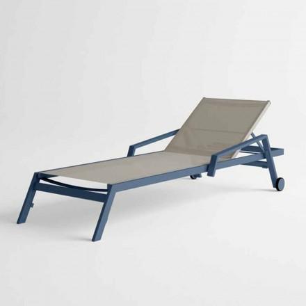 Utomhus solsäng i aluminium med hjul och armstöd Modern design - Carmine