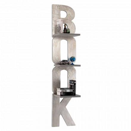 Designvägg bokhylla med 3 hyllor handgjorda i Italien Nicla