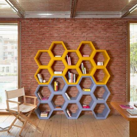 Slide Hexa färgad vägg bokhylla gjord i Italien