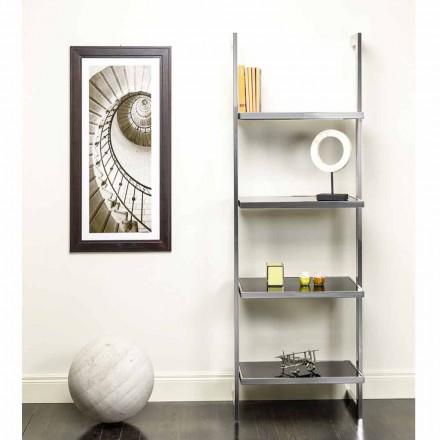 Bokhylla vägg stål och glasdesign 60x180x44cm Tafre