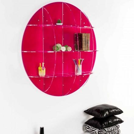 Väggbokhylla i färgad plexiglas tillverkad i Italien, Giofora