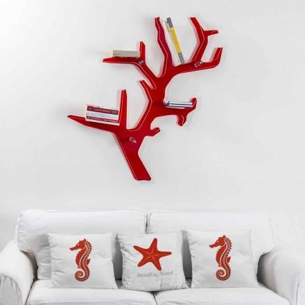 Library of röd modern design Carol Wall, tillverkad i Italien