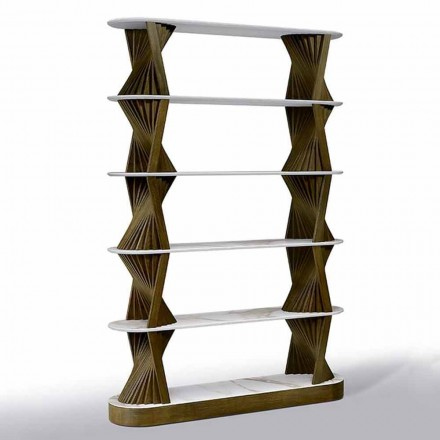 Lyxig golvbokhylla i trä med stenartoppar tillverkade i Italien - Aspide