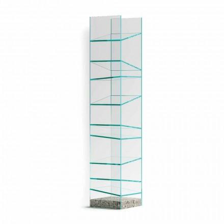 Designgolvbokhylla i glas med stålbas Tillverkad i Italien - Biba