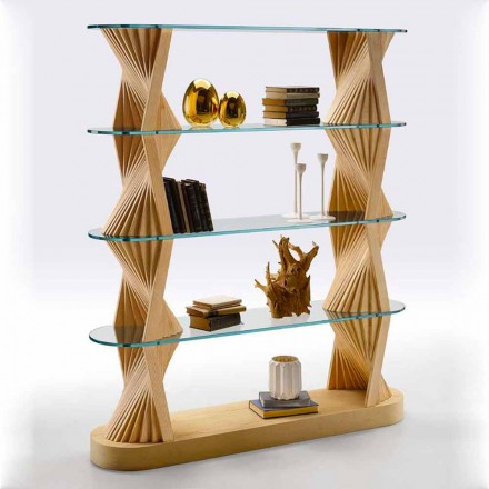 Lyxig golvbokhylla i glas och ask, tillverkad i Italien - Aspide