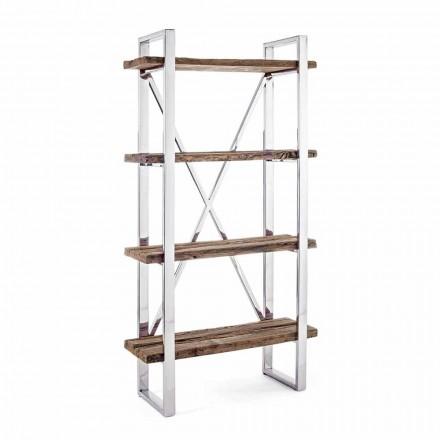 Homemotion Modern golvbokhylla i förkromat stål och trä - Lisotta