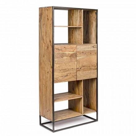 Homemotion - Golvbokhylla i akaciaträ och målat stål