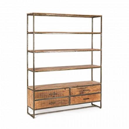 Golvbokhylla i industriell stil i Homemotion i stål och trä - Zompo