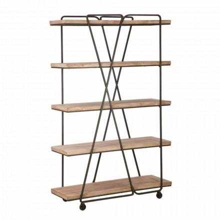Golvbokhylla i industriell stil i trä och järn - Soline