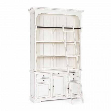Klassisk design träbokhylla med Homemotion dekorativ stege - Cederträ