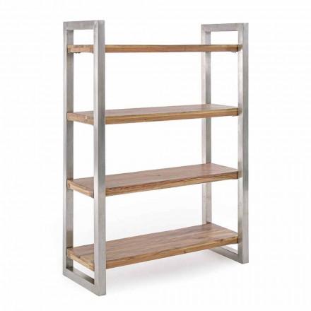 Modern bokhylla med struktur i förkromat stål och Homemotion - Lisotta