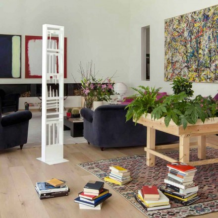 Modern golvbokhylla med vitmetallhyllor tillverkad i Italien - Bolivia