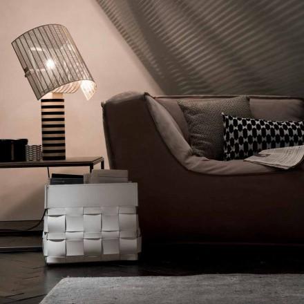 Lory design väggmonterat läder magasinställ, tillverkat i Italien