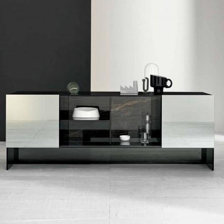 Entré Design Sideboard med 2 dörrar i Smokey Glass tillverkat i Italien - Scocca