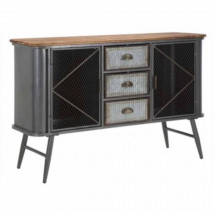 Vintage industriell design vardagsrumsskåp i järn och trä - Akimi