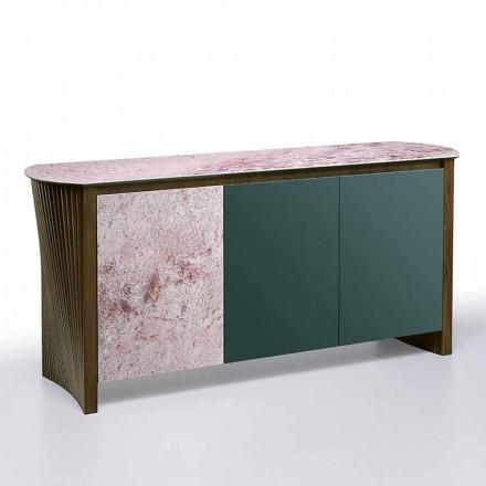 Lyxig skänk i Gres med struktur i trä och Mdf tillverkad i Italien - Cunea