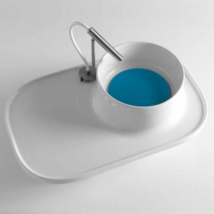 Hylla med integrerad tvättställ i glansig vit keramik tillverkad i Italien - Uber