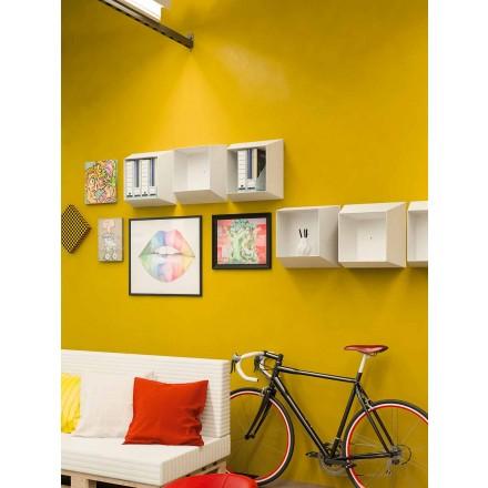 Modern väggmålningshylla med design i vit polypropen - Concy