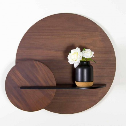 Modulär modern hylla i valnöt och svartlackerad plywood - Amena