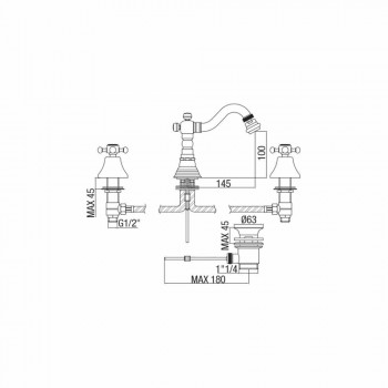 3-håls bidéblandare i mässing klassisk design tillverkad i Italien - Lisca